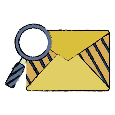Mail envelope with magnifying glass illustration. Illusztráció
