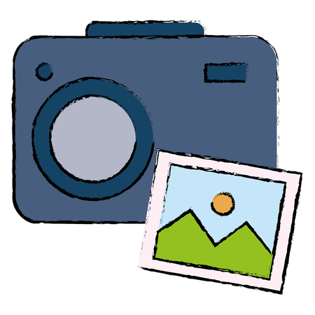 Camera with picture illustration design. Imagens - 92238558