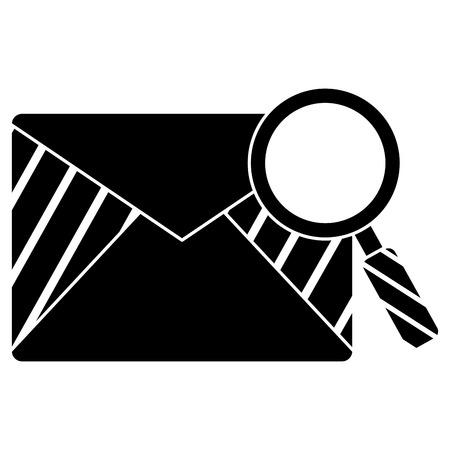 Mail envelope with magnifying glass illustration design.