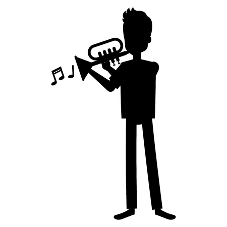 Man playing trumpet avatar illustration design.