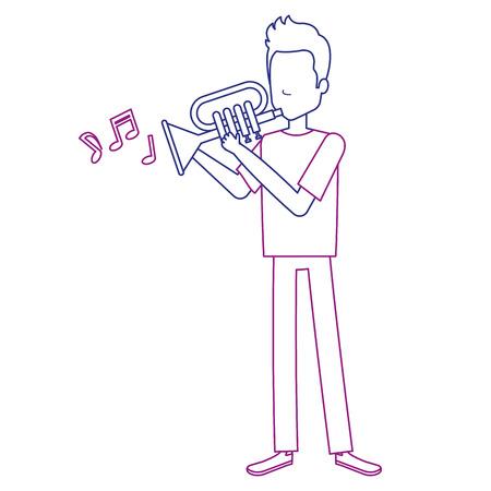 Man playing trumpet avatar illustration design.