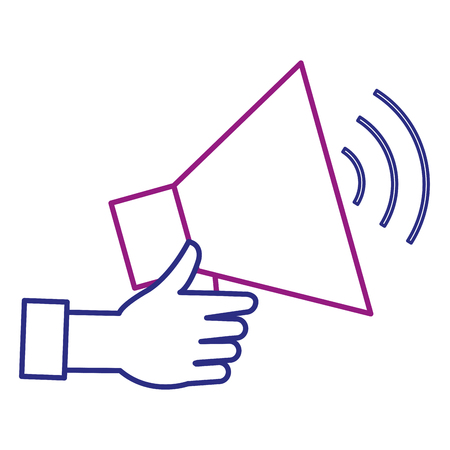 Hand with megaphone sound isolated icon illustration design.