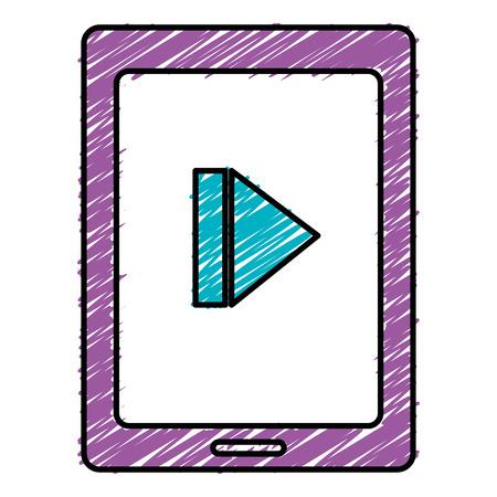 Tablet with media player illustration design.