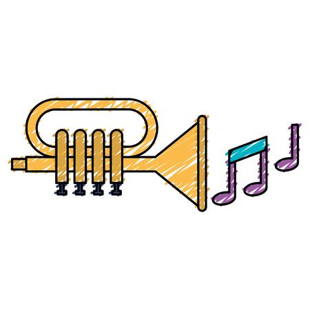 Tromba con progettazione dell'illustrazione delle note di musica. Archivio Fotografico - 92182788