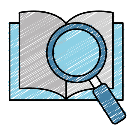 Text book with magnifying glass illustration design.