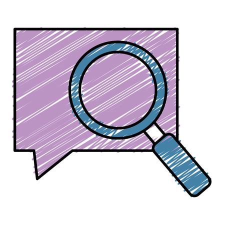 Speech bubble with magnifying glass illustration design. Illusztráció