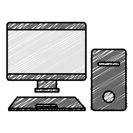 Desktop computer isolated icon illustration design.