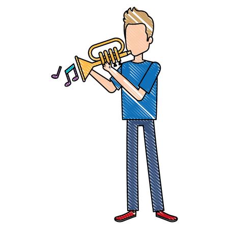 Uomo che gioca la progettazione dell'illustrazione dell'avatar della tromba. Archivio Fotografico - 92182918