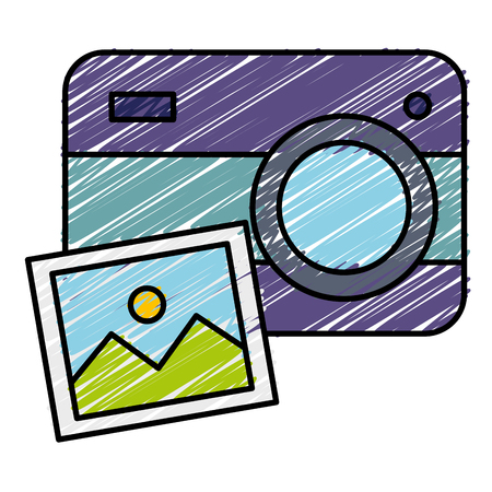 Camera with picture  illustration design.