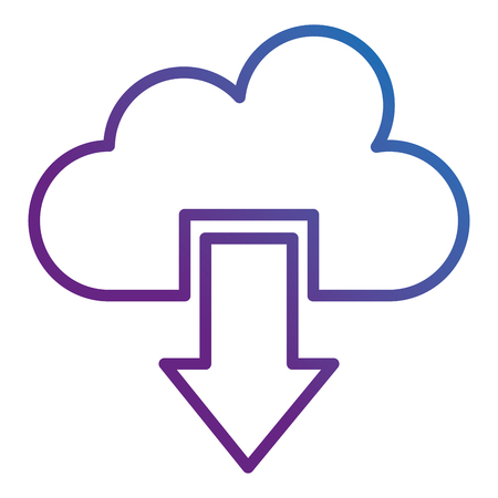 Cloud computing with arrow download illustration design.