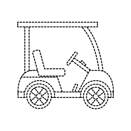 cart golf icon image vector illustration design  black dotted line Illustration