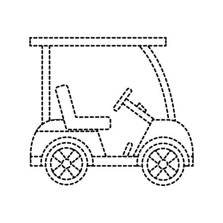 cart golf icon image vector illustration design  black dotted line Illustration