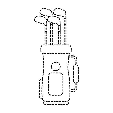 golftas met clubs pictogram afbeelding vector illustratie ontwerp zwarte stippellijn