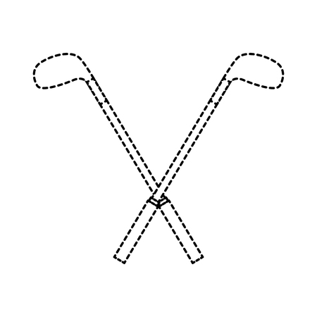 A crossed clubs golf icon image vector illustration design black dotted line Illustration