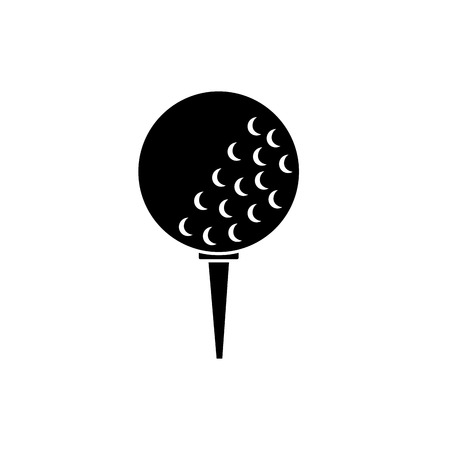 ball on tee golf icon image vector illustration design  black and white