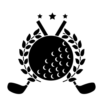 A ball and clubs with laurel wreath stars golf emblem image vector illustration design black and white