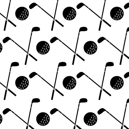 crossed clubs and ball golf icon image vector illustration design  black and white