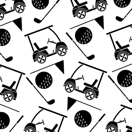 cart ball flag golf pattern image vector illustration design  black and white