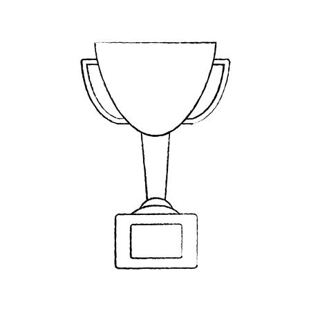 Een trofee cup pictogram afbeelding vector illustratie ontwerp zwarte schets lijn Stock Illustratie