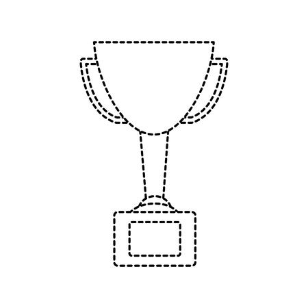 Een trofee cup pictogram afbeelding vector illustratie ontwerp zwarte stippellijn Stock Illustratie