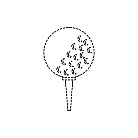 Ball on tee golf icon image vector illustration design black dotted line