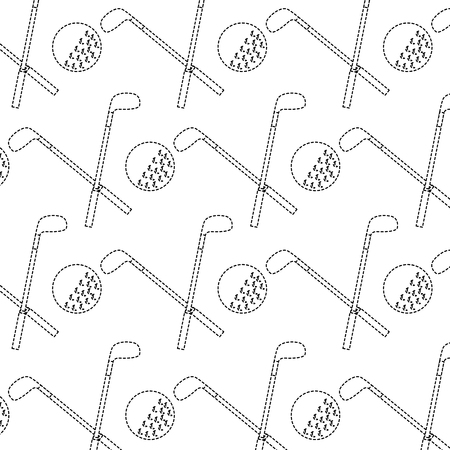 crossed clubs and ball golf icon image vector illustration design  black dotted line