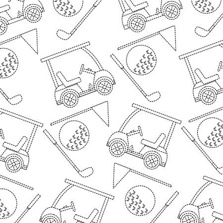 cart ball flag golf pattern image vector illustration design  black dotted line