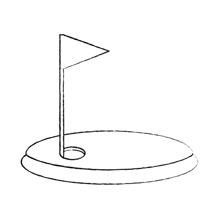field flag hole golf icon image vector illustration design  black sketch line