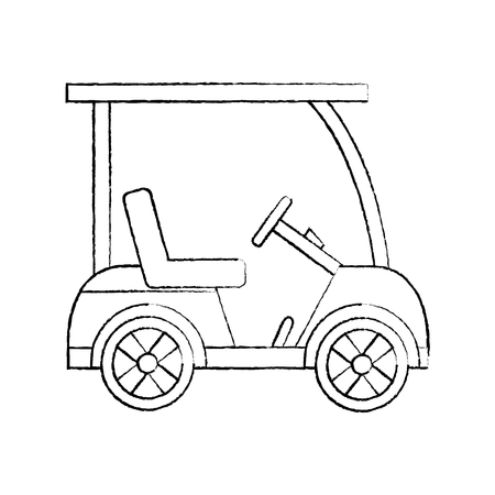 cart golf icon image vector illustration design  black sketch line