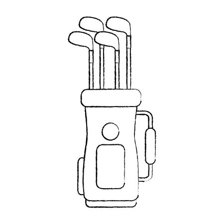 golftas met clubs pictogram afbeelding vector illustratie ontwerp zwarte schets lijn