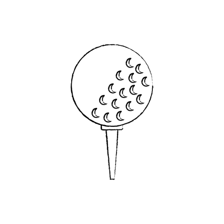 ball on tee golf icon image vector illustration design  black sketch line