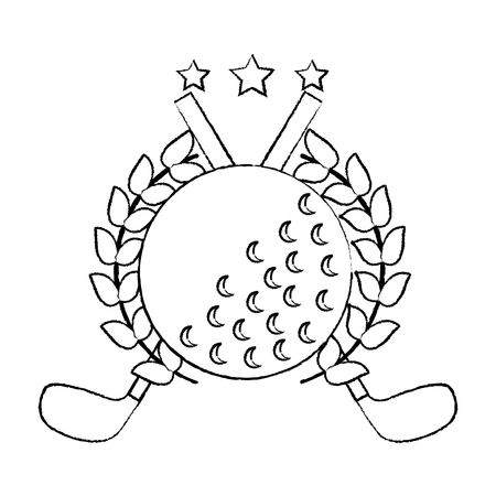 ball and clubs with laurel wreath stars golf emblem image vector illustration design  black sketch line