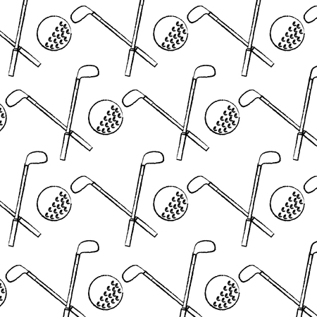 crossed clubs and ball golf icon image vector illustration design  black sketch line