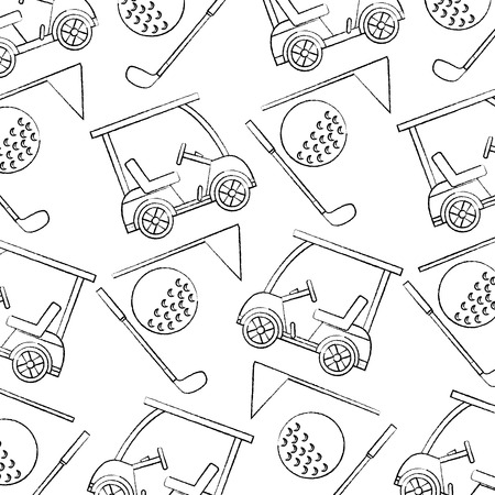 cart ball flag golf pattern image vector illustration design  black sketch line