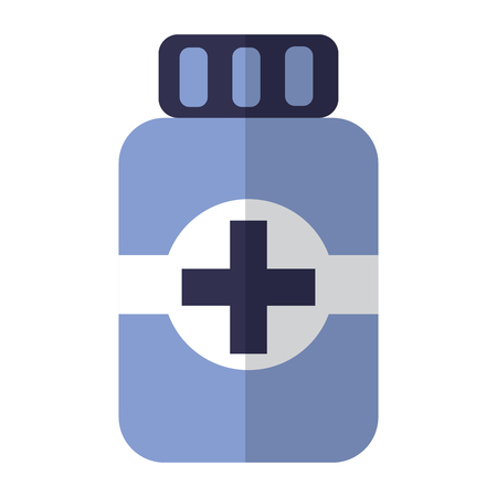 A pill bottle healthcare icon image vector illustration design Illustration