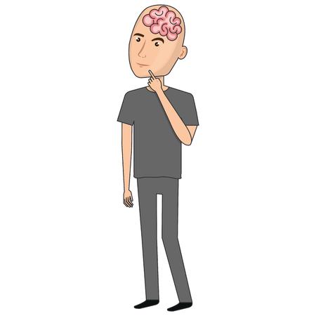 brain storming con progettazione dell'illustrazione di vettore di profilo umano