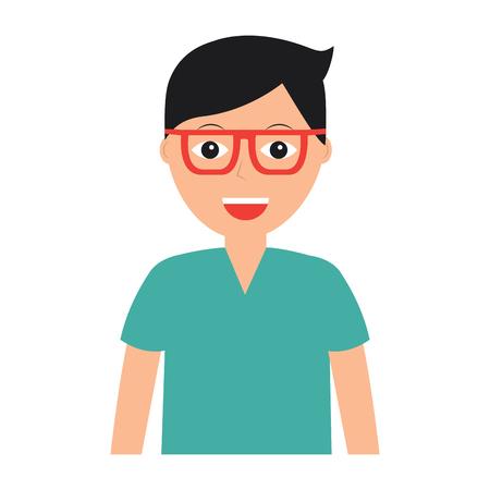 メガネアイコン画像ベクトルイラストデザインの幸せな男