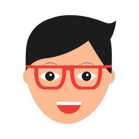 A happy man with glasses icon image vector illustration design Çizim