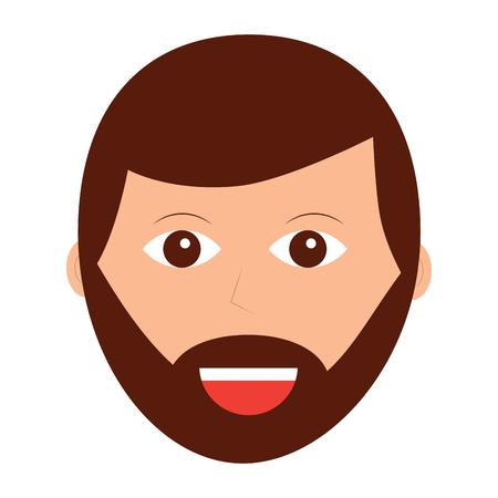 happy man with beard icon image vector illustration design