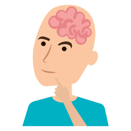 A brain storming with human profile vector illustration design