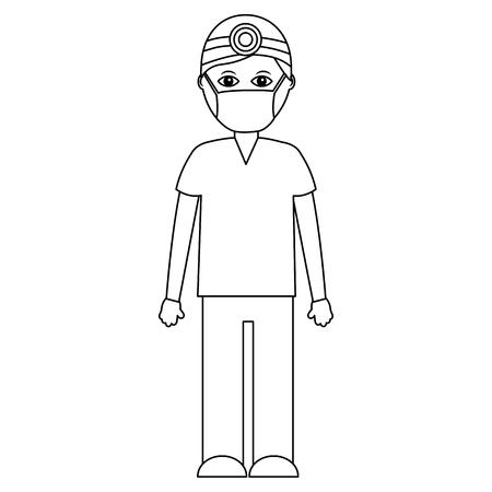 A professional surgeon medical uniform clothes vector illustration outline design Stock Illustratie