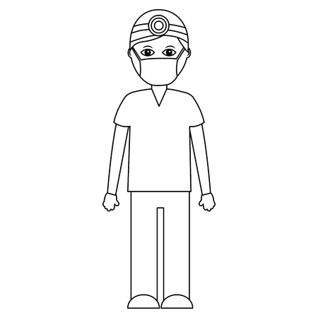 A professional surgeon medical uniform clothes vector illustration outline design Illustration