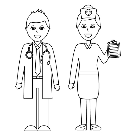 A professionals couple of doctor hospital staff vector illustration outline design