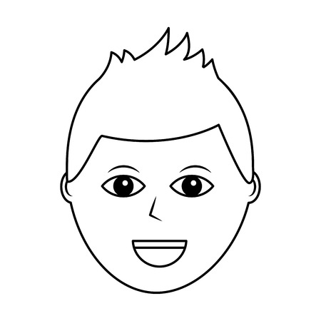 cartoon face man male character person vector illustration outline design