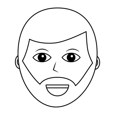 A cartoon face man male character person vector illustration outline design Ilustração