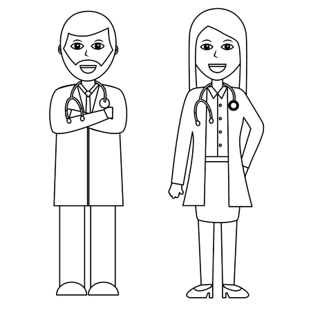 医師病院スタッフベクトルイラストアウトラインデザインの専門家カップル