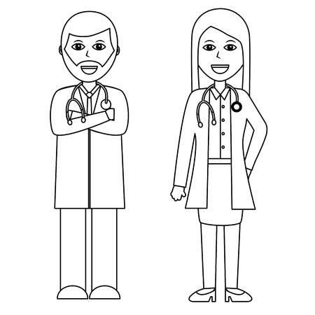 professionals couple of doctor hospital staff vector illustration outline design