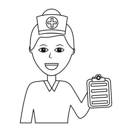 Portrait female doctor medical healthcare character vector illustration outline design