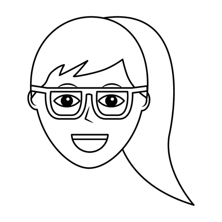 Progettazione femminile del profilo dell'illustrazione di vettore dell'icona del carattere felice della donna Archivio Fotografico - 92175109
