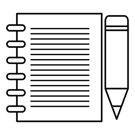 Sheet of notebook with pencil icon vector illustration design 向量圖像